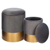 "Lot de 2 Poufs en Velours ""Coffre"" 44cm Gris"