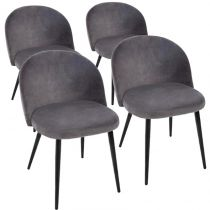 "Lot de 4 Chaises en Velours ""Nael"" 75cm Gris"