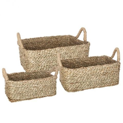 "Lot de 3 Paniers de Rangement à Anses ""Seagrass"" 13cm Naturel"