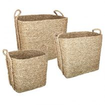 "Lot de 3 Paniers de Rangement à Anses ""Seagrass"" 40cm Naturel"