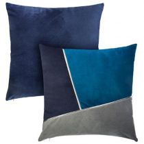 "Lot de 2 Coussins Déco Velours ""James"" 40x40cm Bleu"