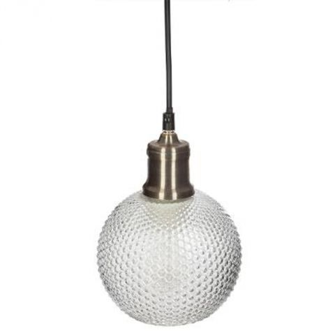 "Lampe Suspension Boule en Verre ""Iris"" 19cm Or"