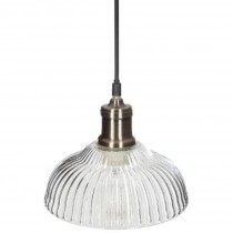 "Lampe Suspension Cloche en Verre ""Iris"" 14cm Or"