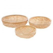 "Lot de 3 Corbeilles ""Bambou"" 30cm Naturel"