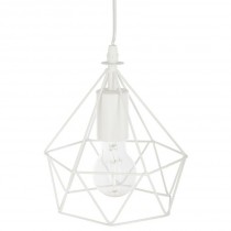 "Lampe Suspension Métal ""Fils"" 22cm Blanc"