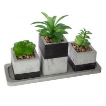 "Lot de 3 Plantes Artificielles en Pot ""Ciment"" 26cm Gris"
