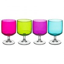 "Lot de 4 Verres à Pied ""Mexico"" 29cl Multicolore"