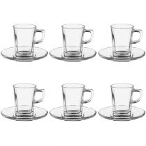 "Lot de 6 Tasses & Soucoupes ""Expresso"" 7,2cl Transparent"