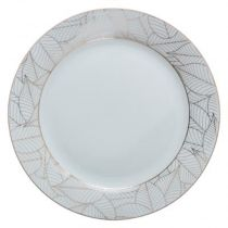 "Lot de 6 Assiettes Plates Porcelaine ""Feuilles"" 27cm Or"