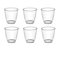 "Lot de 6 Gobelets en Verre ""Stripy"" 25cl Transparent"