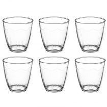 "Lot de 6 Gobelets en Verre ""Chevron"" 25cl Transparent"