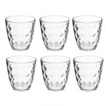 "Lot de 6 Gobelets en Verre ""Diamant"" 25cl Transparent"