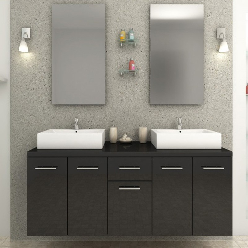 ensemble meuble de salle de bain epura noir. Black Bedroom Furniture Sets. Home Design Ideas