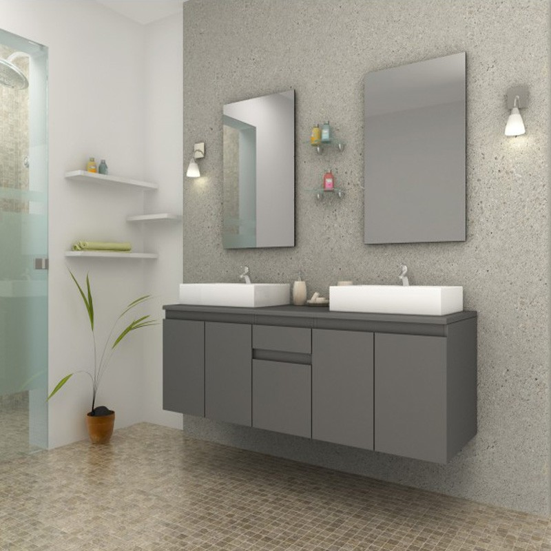 ensemble meuble salle de bain bilbao gris. Black Bedroom Furniture Sets. Home Design Ideas