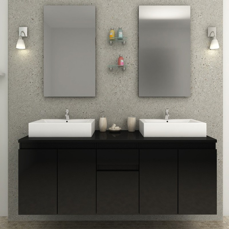 ensemble meuble salle de bain bilbao noir. Black Bedroom Furniture Sets. Home Design Ideas
