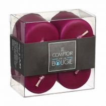 "Lot de 4 Bougies Votives ""Basic"" 3,9cm Prune"