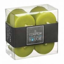 "Lot de 4 Bougies Votives ""Basic"" 3,9cm Vert"