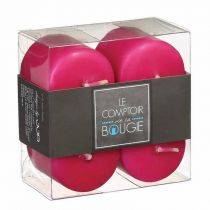"Lot de 4 Bougies Votives ""Basic"" 3,9cm Fuchsia"