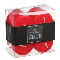 "Lot de 4 Bougies Votives ""Basic"" 3,9cm Rouge"