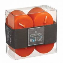 "Lot de 4 Bougies Votives ""Basic"" 3,9cm Orange"