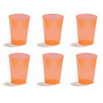 6 Gobelets en Plastique Orange