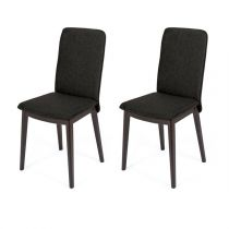 "Lot de 2 Chaises Design ""Adra"" 90cm Anthracite & Marron"