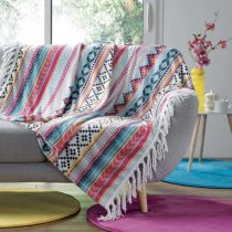 "Plaid à Franges Flanelle ""Waxy"" 125x150cm Multicolore"