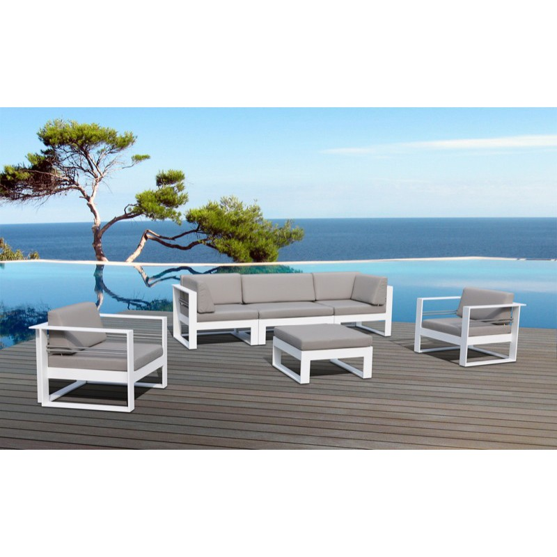 Salon de jardin en m tal st tropez taupe for Salon de jardin couleur taupe