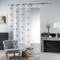 "Rideau Voilage Brodé ""Sweety Heart"" 140x240cm Gris"