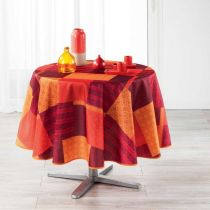 "Nappe Ronde Imprimée ""Catalonia"" 180cm Orange"