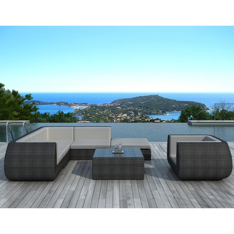 salon de jardin en r sine tress e roma gris. Black Bedroom Furniture Sets. Home Design Ideas
