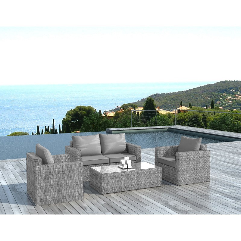 salon de jardin en r sine tress e vinci gris. Black Bedroom Furniture Sets. Home Design Ideas