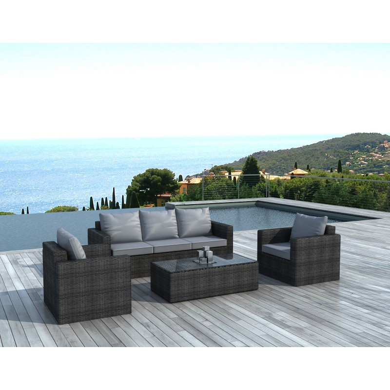 Salon de jardin en r sine tress capri gris for Salon de jardin tresse gris anthracite