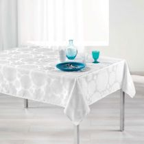 "Nappe Rectangulaire ""Rose des Vents"" 140x300cm Blanc"