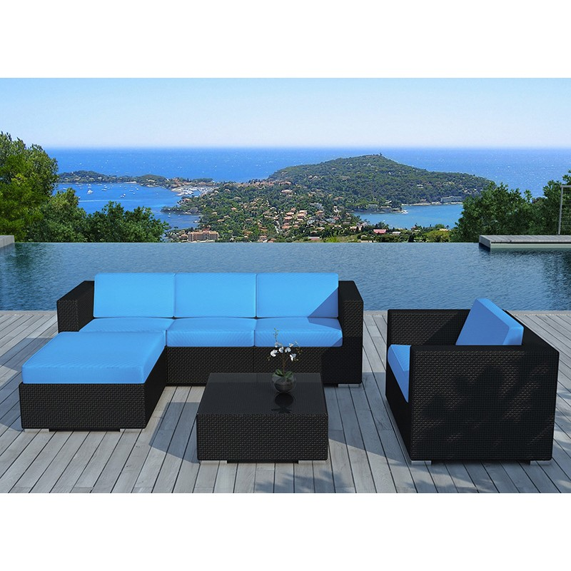 salon de jardin en r sine valentino bleu noir. Black Bedroom Furniture Sets. Home Design Ideas
