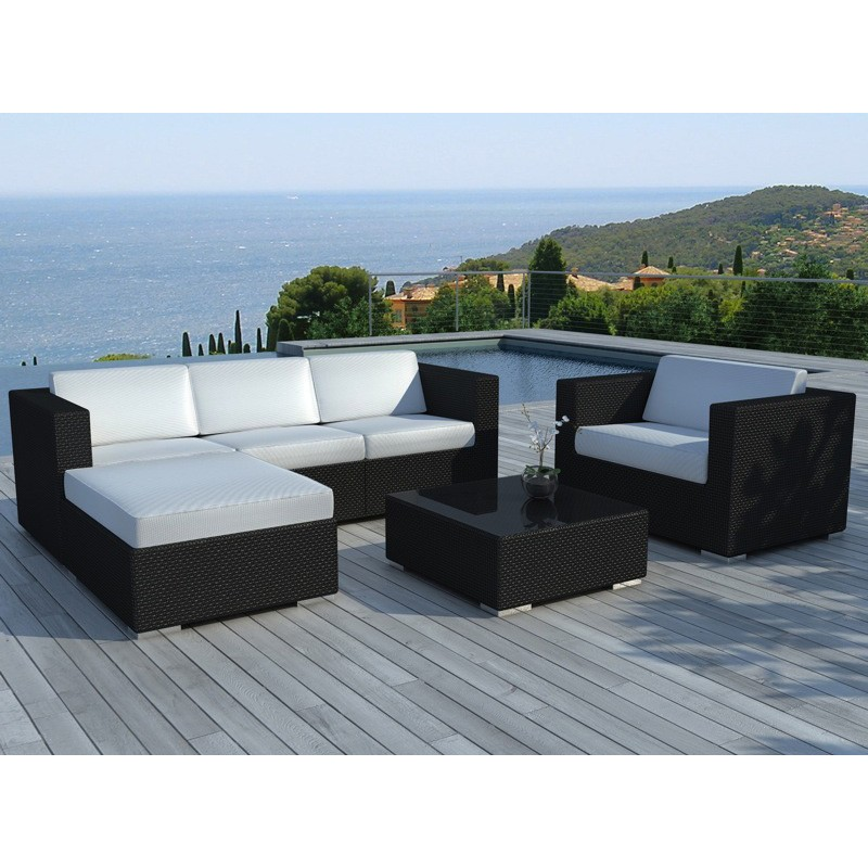 salon de jardin en r sine valentino blanc noir. Black Bedroom Furniture Sets. Home Design Ideas