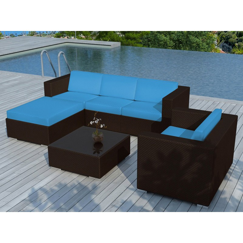 salon de jardin en r sine valentino bleu marron. Black Bedroom Furniture Sets. Home Design Ideas
