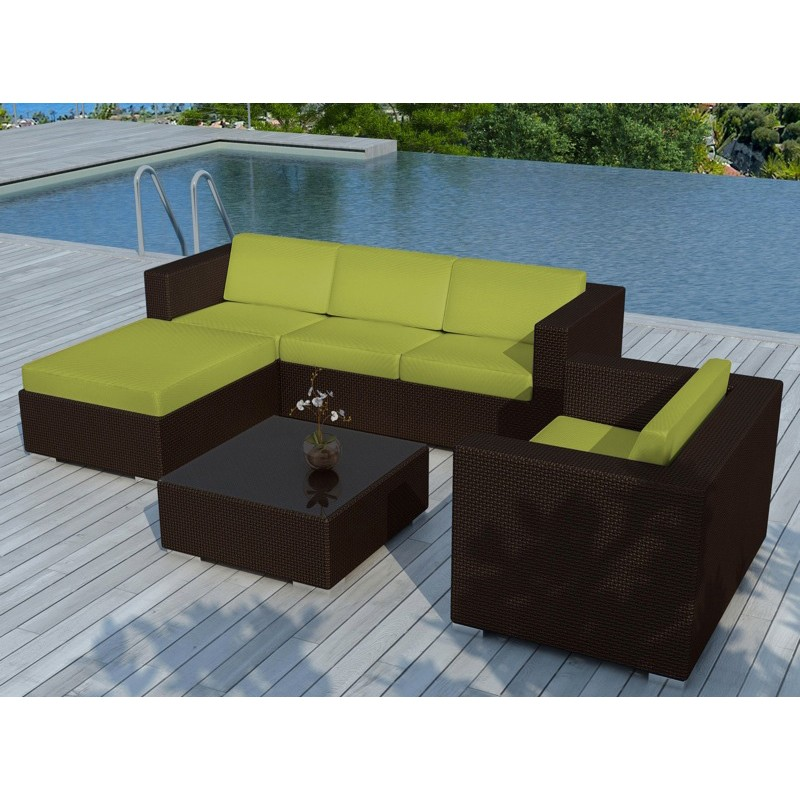 salon de jardin en r sine valentino vert marron. Black Bedroom Furniture Sets. Home Design Ideas