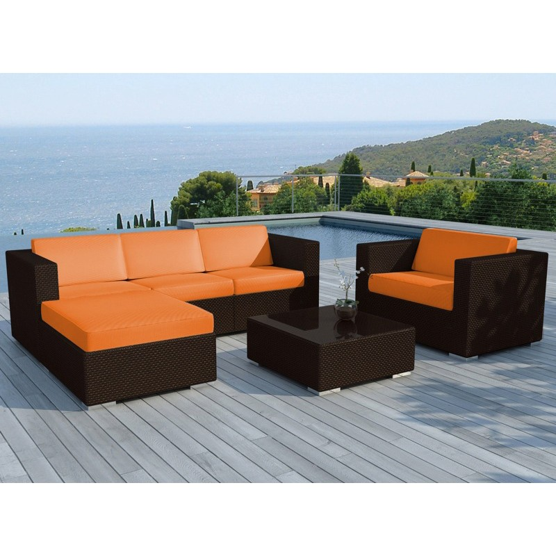 salon de jardin en r sine valentino orange marron. Black Bedroom Furniture Sets. Home Design Ideas