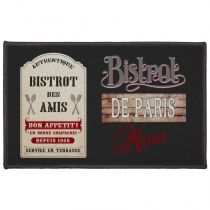 "Tapis Rectangle ""Bistrot Des Amis"" 50x80cm Noir"