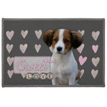 "Tapis Rectangle ""Love Doggy"" 40x60cm Gris"