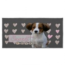 "Tapis Rectangle ""Love Doggy"" 57x115cm Gris"