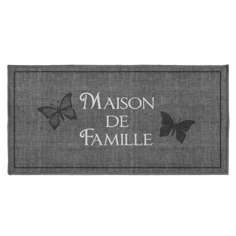 "Tapis Rectangle ""Familia"" 57x115cm Gris"