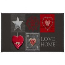 "Tapis Rectangle ""Love Home II"" 50x80cm Noir"