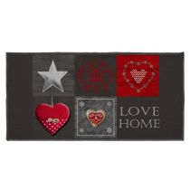 "Tapis Rectangle ""Love Home II"" 57x115cm Noir"