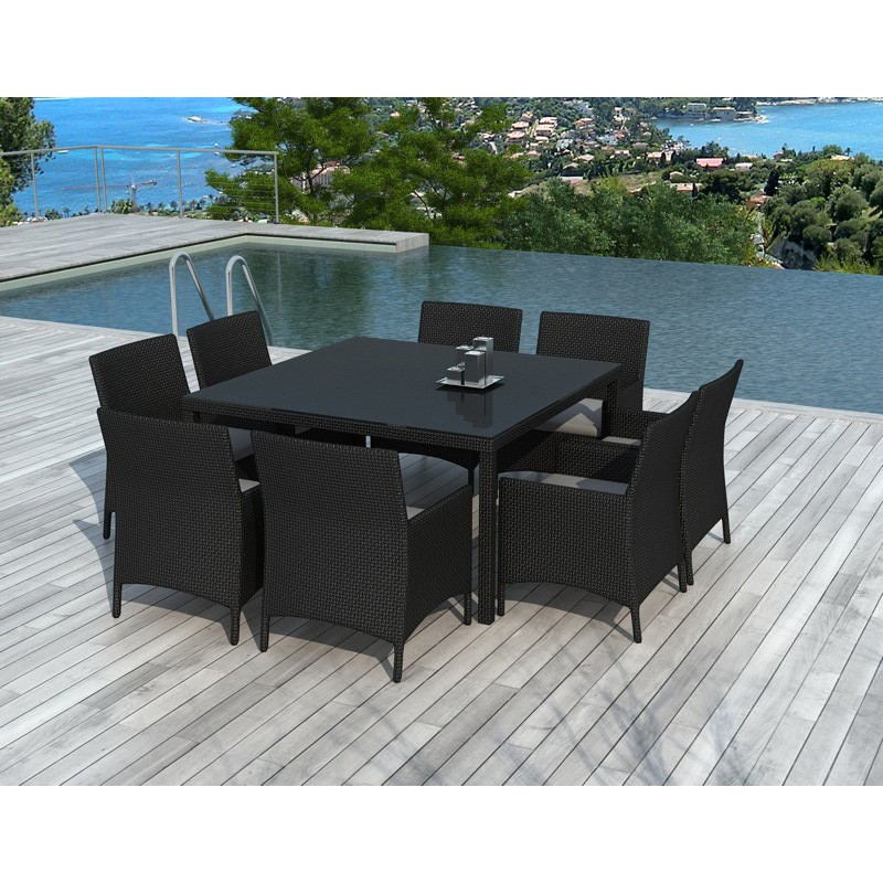table chaises de jardin en r sine castelli noir. Black Bedroom Furniture Sets. Home Design Ideas
