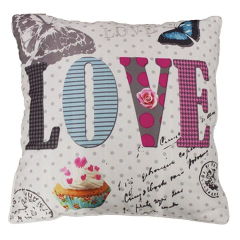 """Coussin Déco """"Girly Love"""" 40x40cm Taupe"""