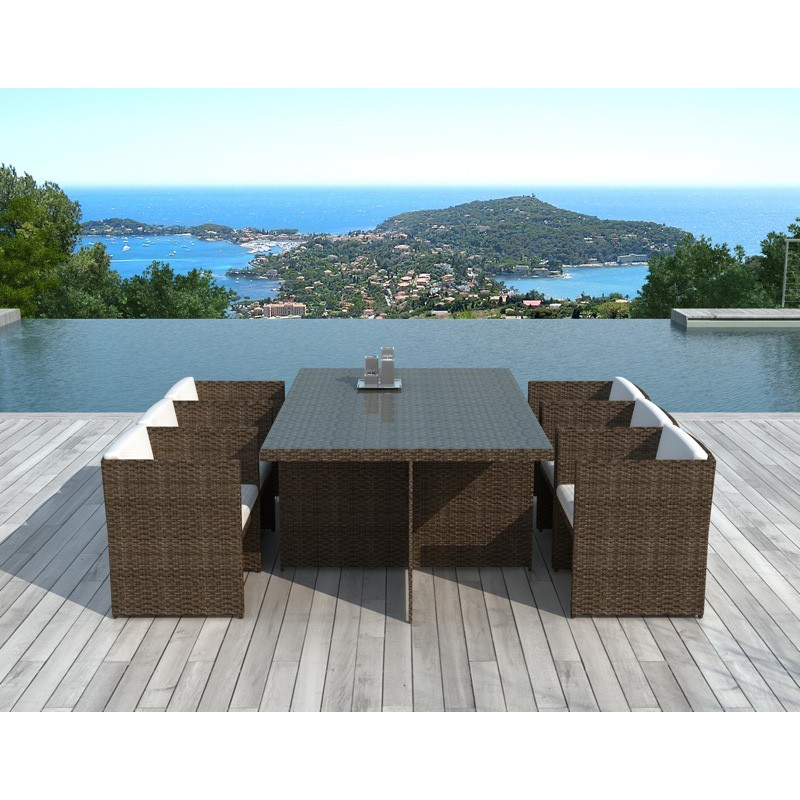 table chaises de jardin en r sine florence marron. Black Bedroom Furniture Sets. Home Design Ideas