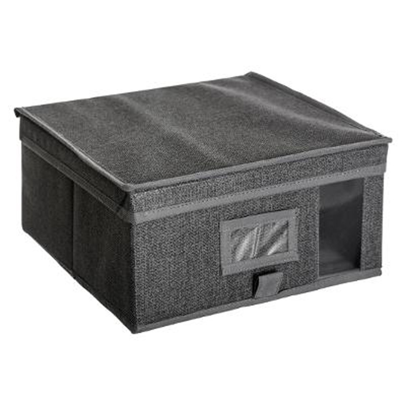 bo te de rangement dressing 30x30cm gris fonc. Black Bedroom Furniture Sets. Home Design Ideas