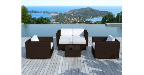 salon de jardin en r sine tress e portofino blanc marron. Black Bedroom Furniture Sets. Home Design Ideas